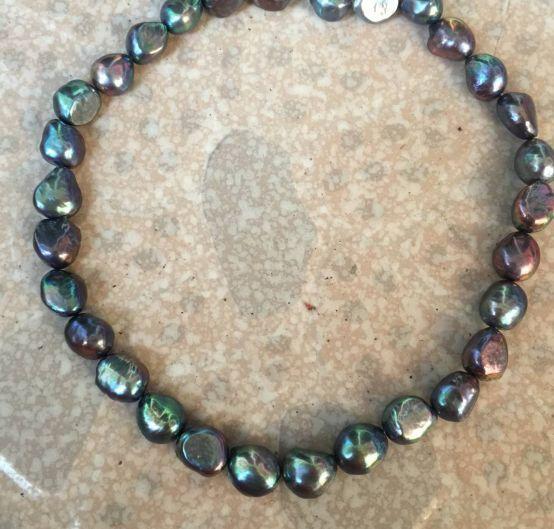 12-13mm tahitian baroque black green multicolor pearl necklace 18inch 925silver12-13mm tahitian baroque black green multicolor pearl necklace 18inch 925silver