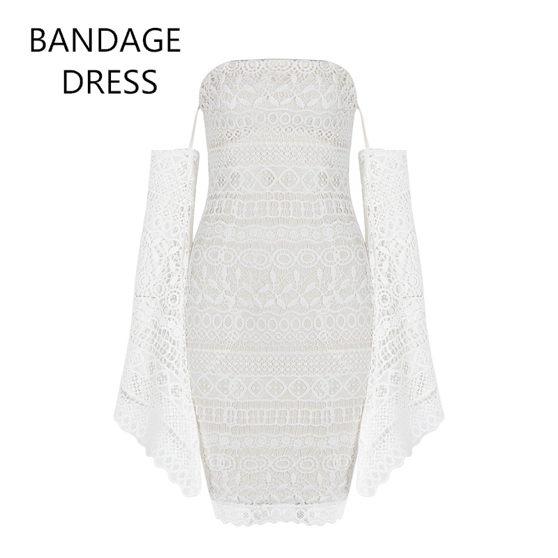 2017 New Women Bandage Dress White Lace Slash Neck Hollow Out Mini Vestidos Celebrity Evening Party Bodycon Dresses HL J517