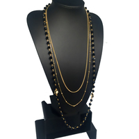 Black Simulated Pearl Jewelry Three Layer Gold Chain Long Necklace Women Collier Perle Bijoux Collares Perlas