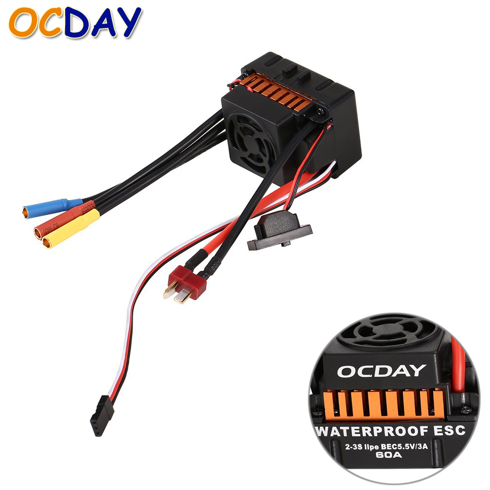 Register shipping 1pcs OCDAY Waterproof 60A Sensorless Brushless Car Electronic Speed Control ESC free shipping feike da skyrc toro 8s 150a model car brushless esc electronic speed control
