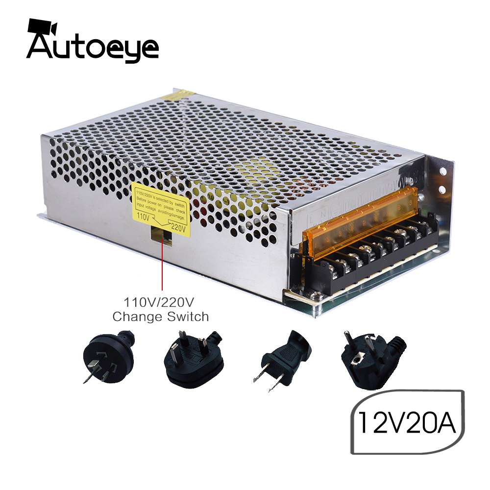 Autoeye AC/DC Switch Power with Cable Plug 3D Printer Adapters Power Supply Transformer for Strip Accessories 12V 20A 240WAutoeye AC/DC Switch Power with Cable Plug 3D Printer Adapters Power Supply Transformer for Strip Accessories 12V 20A 240W