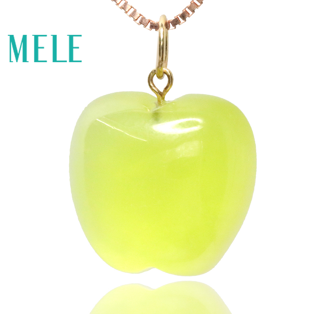 Natural prehnite 18k real gold pendant for women and man,14X14mm apple shape yellow gemstone fashion and fine jewelryNatural prehnite 18k real gold pendant for women and man,14X14mm apple shape yellow gemstone fashion and fine jewelry