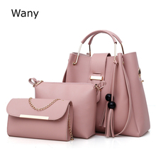 купить Fashion women's shoulder bags tote ladies brand composite bag 3 pcs/set pu leather tassel handbag bucket bag messenger bags Wany по цене 1648.47 рублей