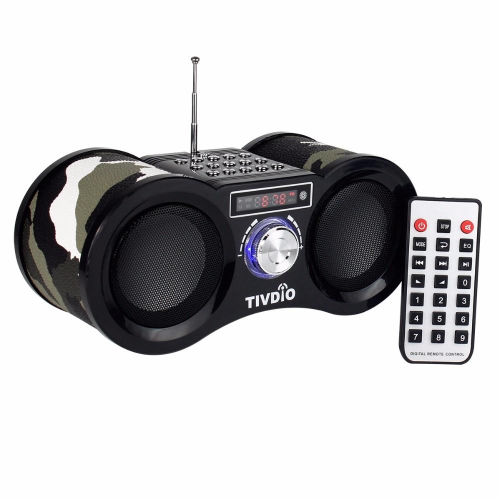 TIVDIO V-113 Radio FM Stereo Digital Radio Receiver Speaker USB TF Card MP3 Music Player Camouflage With Remote Control F9203 old version degen de1103 1 0 ssb pll fm stereo sw mw lw dual conversion digital world band radio receiver de 1103 free shipping