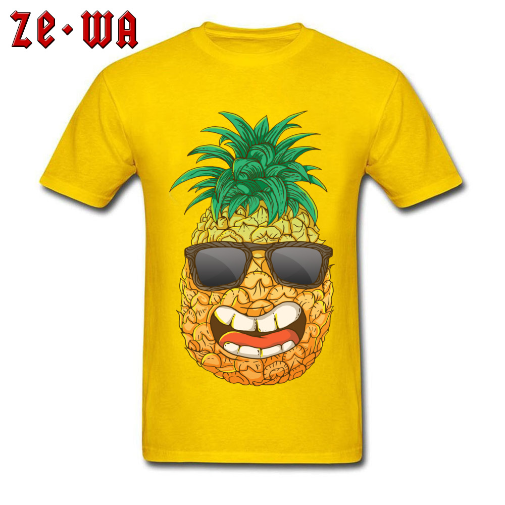 Cool Pineapple Round Neck Top T-shirts Labor Day Tops Shirts Short Sleeve Special Cotton Cool Tops & Tees Custom Student Cool Pineapple yellow