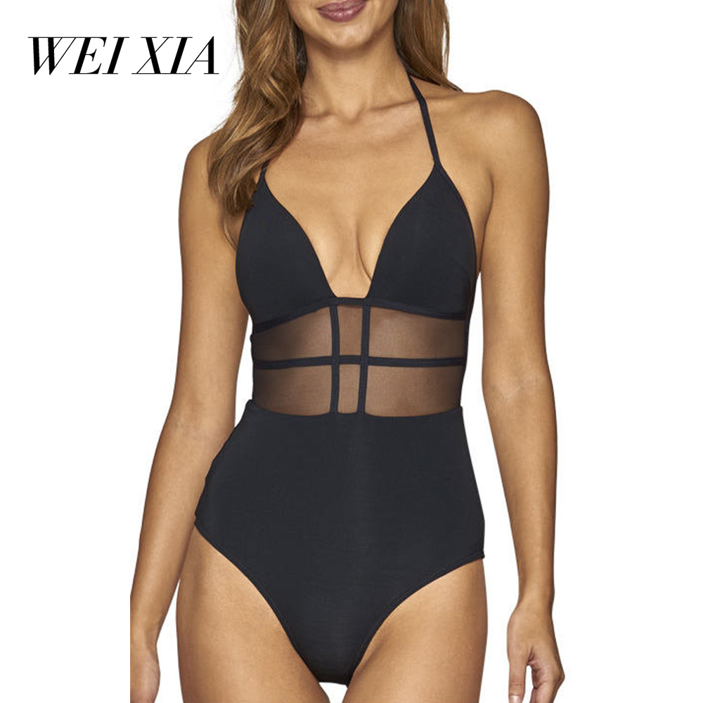 WEIXIA 2018 Swimwear One Piece Swimsuit Women Summer Beach Wear Vintage Retro BathingSuit Black sexy one Piece