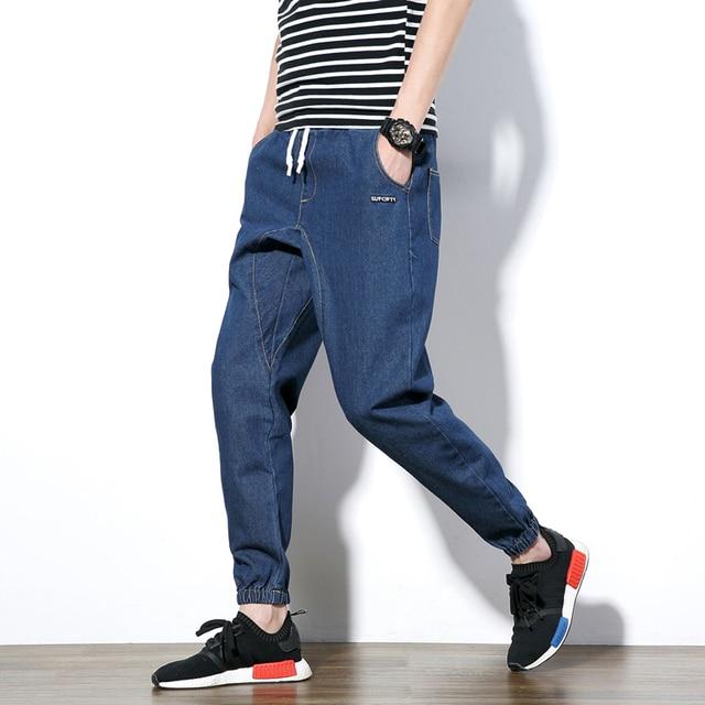 Joggingbroek Denim Heren.Herfst Heren Harembroek Hip Top Jeans Enkellange Broek Mannen Casual