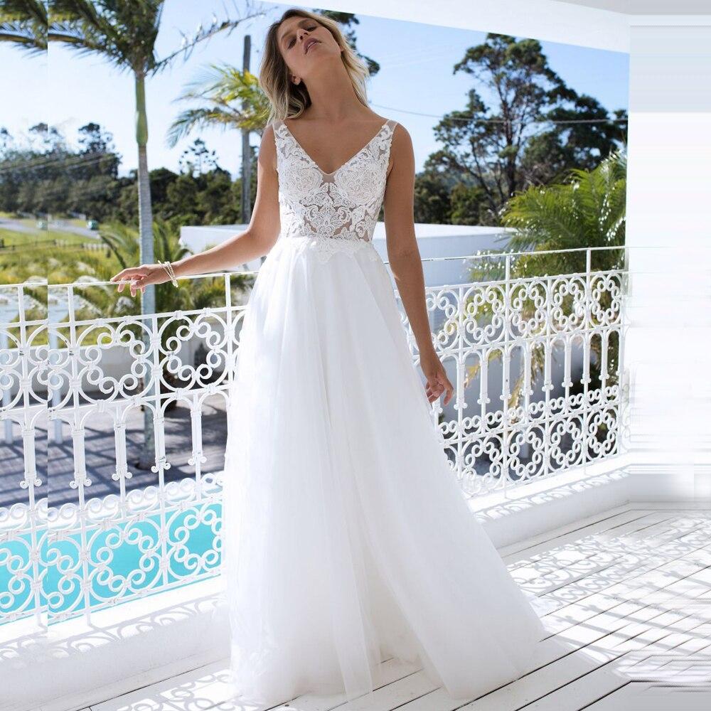 Elegant White Ivory Backless Boho Wedding Dresses Double V-neck Sleeveless A-line Bridal Dress Robe de Marriage Custom Made