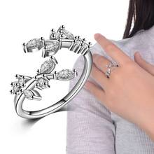 2019 Boho Leaves Design CZ Silver Rings AAAA Zircon Wedding for Bridal Women Party Engagement Jewelry Size adjustable