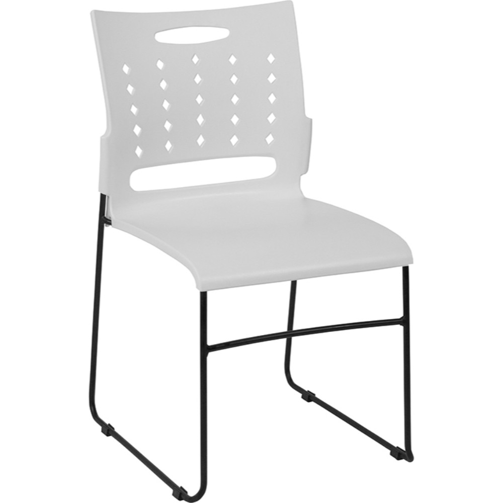 White Sled Base Stack Chair with Air-Vent Back, 881 lb. Capacity back vent flap pocket pea coat