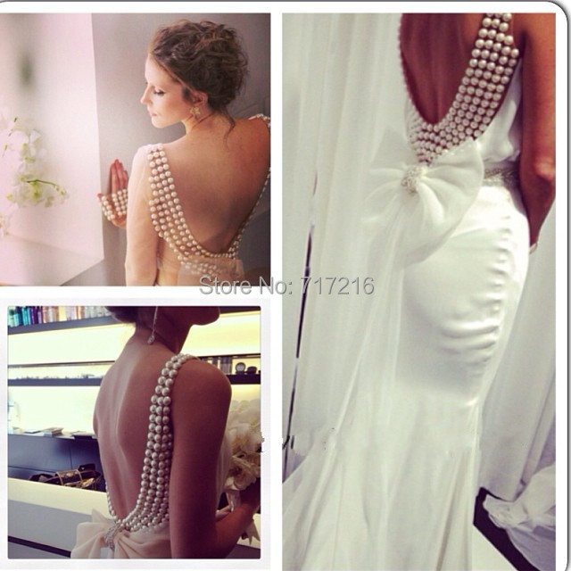 Exquisite Pearl Mermaid Wedding Dresses New Design Y Beautiful Beaded Back Bow Knot Gown Custom Made Elegant Dress In From