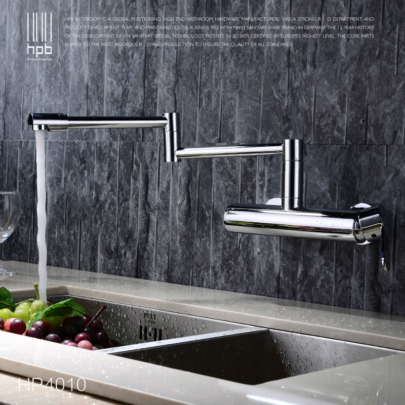 HPB Contemporary Brass Folding Kitchen Mixer Tap Sink Faucet Wall Mounted Single handle Single Hole Hot