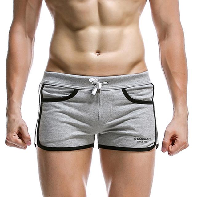 New seobean  Men's home shorts solid casual  shorts tracksuit fashion tide models cotton shorts 4 colors S M L XL
