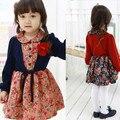 Весна Раздел Девушки Корейские Дети Поддельные Шаль Цветочные Платья Хлопок Дети Одежда 2 Цвет