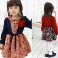 The Spring Section Girls Korean Children Fake Shawl Floral Dress Cotton Kids Clothing 2 Colour