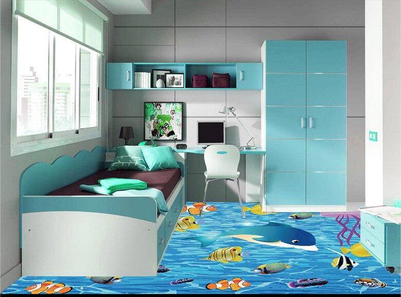Cartoon Fish 3D Floor Painting Kids Room Bathroom Bedroom PVC Self Adhesive Vinyl Flooring Wall Paper 3 D Anti Wear Removable|floor Mural|painting Wallpaperwallpaper Waterproof - AliExpress