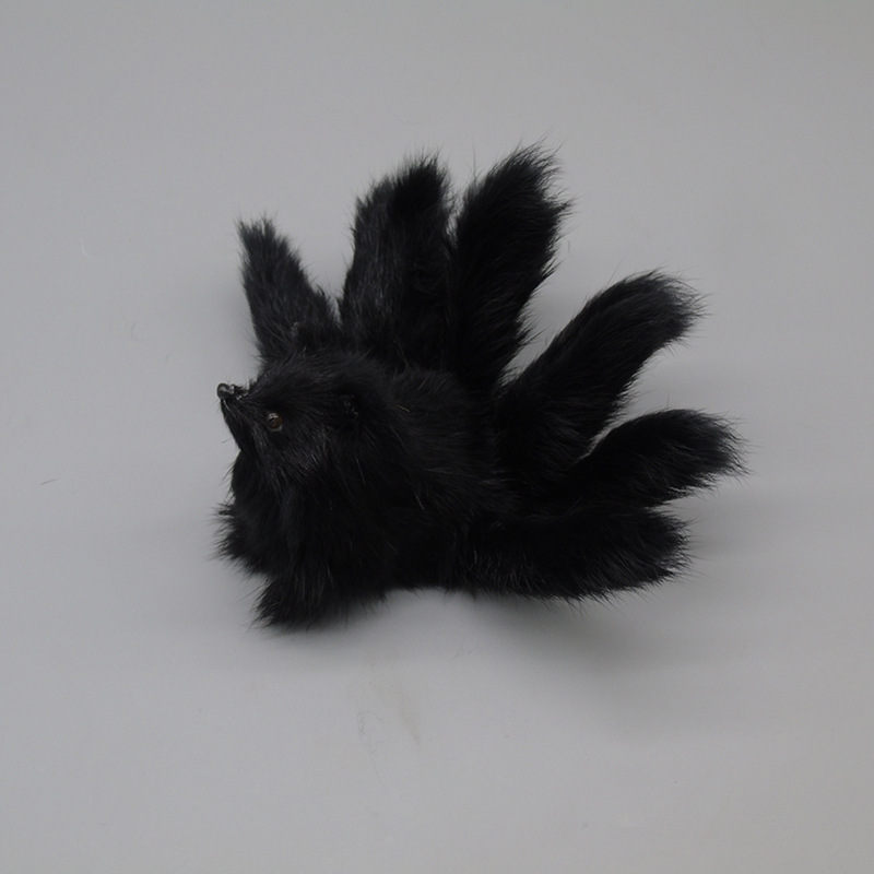 new creative simulation fox toy plastic&fur nine-tails black fox doll gift about 18cm image