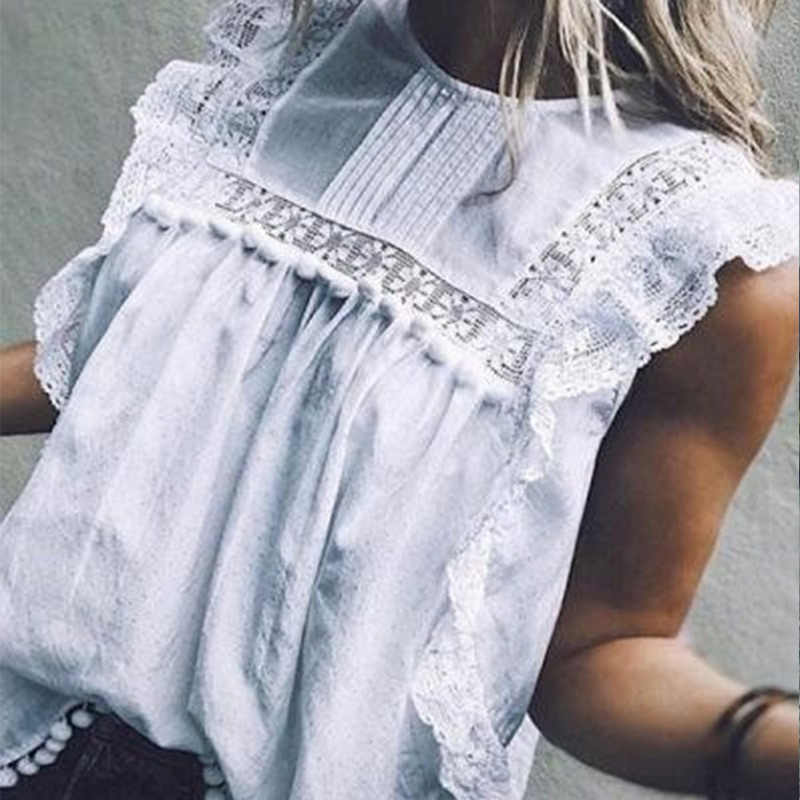 Hollow Out Women's Lace Sleeveless Shirt White Ruffles Sleeveless Patchwork O-Neck Feminine Blouse 2019 Summer Ladies Shirts Top