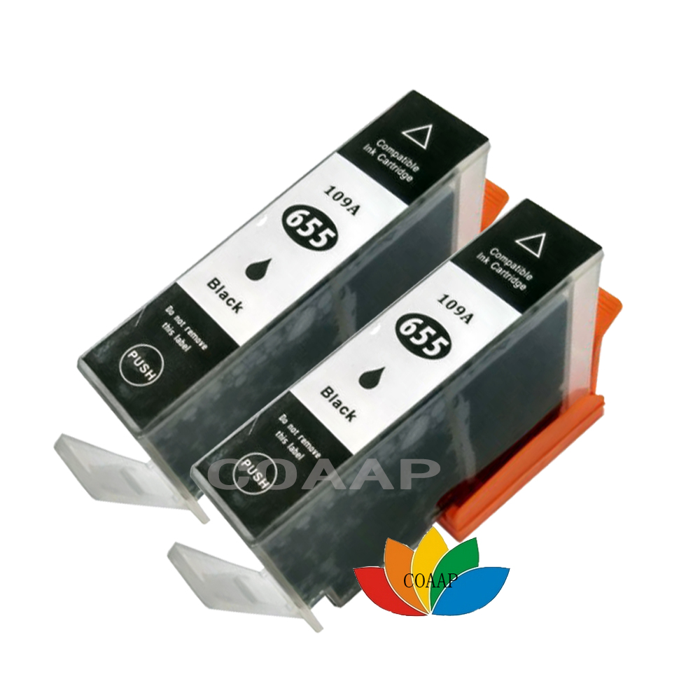 2 Black ink Cartridge for Compatible HP 655 655XL Deskjet 4615 3520 3525 4620 4625 5525 6520 6525 e-All-in-One Printer image
