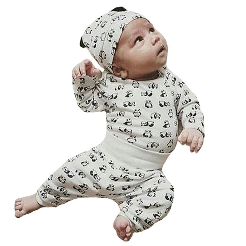 Комплект пижамы для детей бренд мультфильм животных 3 шт. для девочек и мальчиков Костюмы осенний комплект с рисунком панды футболки + Брюки ...
