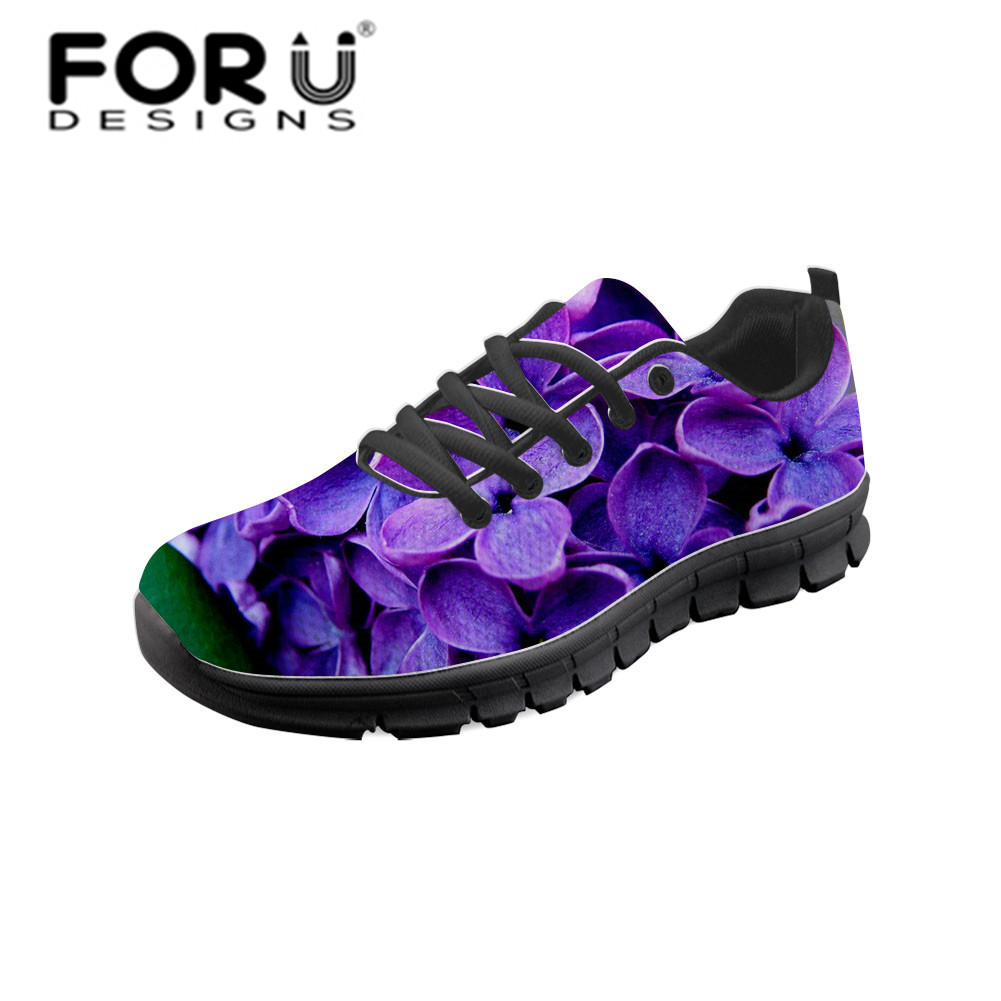 FORUDESIGNS Purple Lilac Flower Mesh Shoes Woman Vulcanized