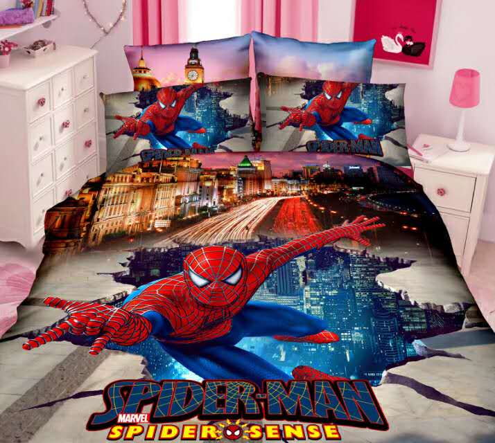 Spiderman Bedding Set Twin Size Bed Covers Sheets For Kids Bedroom Decor Single Bedclothes Boys Childrens Home 2-4 Pieces Blue