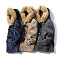 Botão da buzina gola de pele de camurça de couro amassado jaqueta de médio-longo térmico projeto de longo algodão-acolchoado jacket
