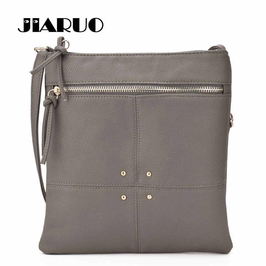 JIARUO Brand Design 2017 Simple Rivet Leather Crossbody Bag for Women  Shoulder bags Ladies Messegner bag 350a304f1ec58
