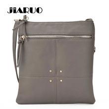 f2ac323a1164 JIARUO фирменный дизайн 2017 простой заклепки кожаная сумка через плечо для  Для женщин сумки на плечо дамы Messegner Сумка тонко.