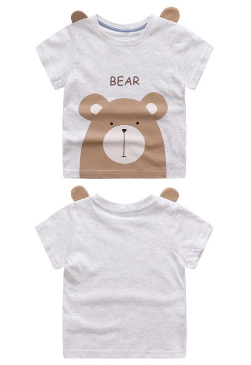 HTB1GfL SFXXXXanXXXXq6xXFXXX9 - Cute Summer New Girls Boy T-shirt Children's Bottom Kids Lovely 3D Animal Cartoon Shirt Baby Clothes, Dinosaur/ Bear/ Elephant