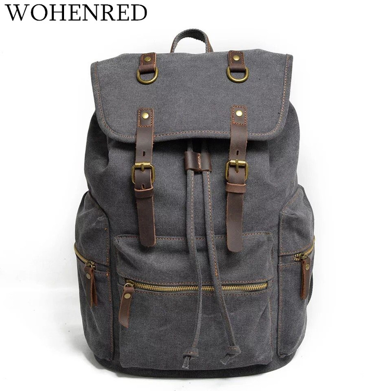 Large capacity Travel Backpack Canvas Men Bags Dark Gray Travel Casual Daypacks Vintage Big School Bag For Teenage Boys Rucksack big capacity tactical canvas backpack vintage laptop bags hiking men s backpack schoolbag travel rucksack outdoor daypack me0888