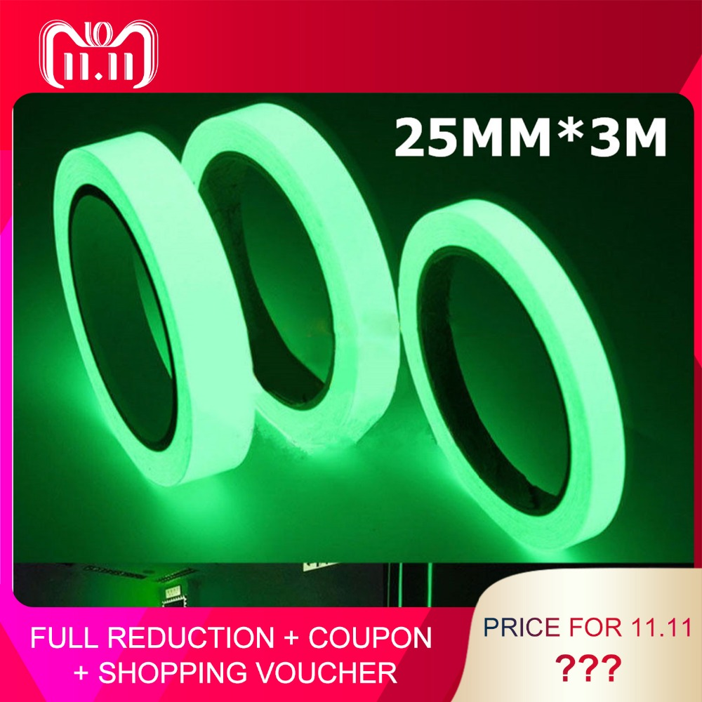 3M*25MM Reflective Tape Glow In The Dark Tape Self-adhesive Night Vision Luminous Tapes Warning Tape Stickers multi color 1 roll 20m marking tape 100mm adhesive tape warning marker pvc tape