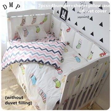 Promotion! 6/7PCS Baby bedding sets crib baby bumper,100% cotton cartoon ,120*60/120*70cm