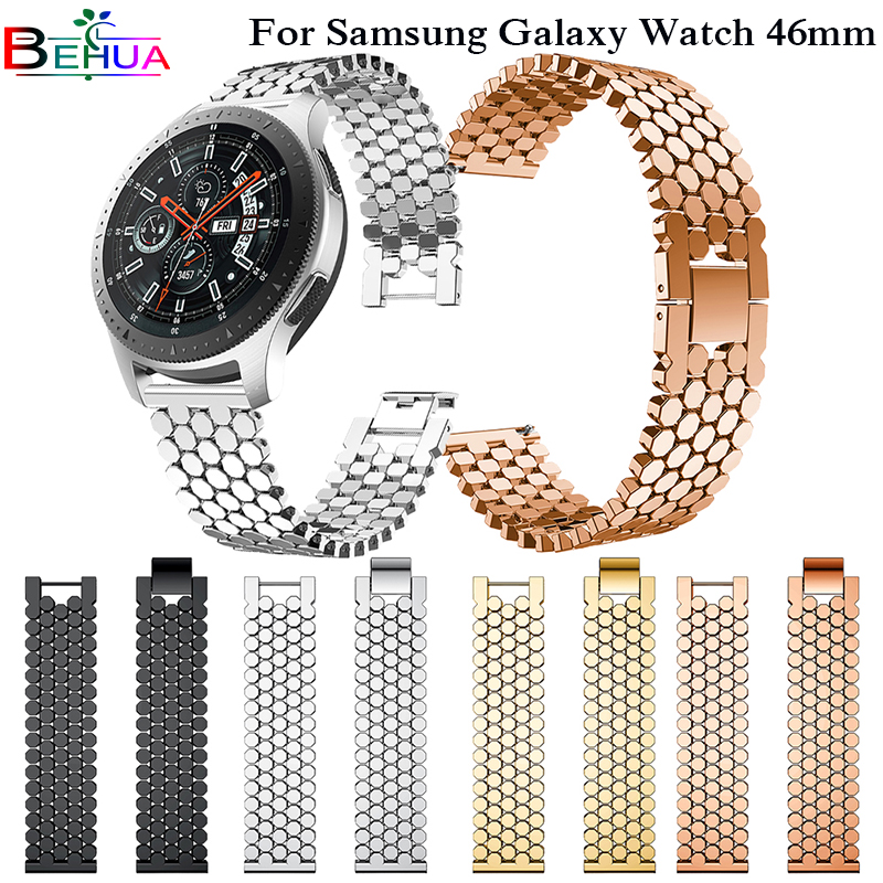 Watch Accessories For Samsung Galaxy Watch 46mm SM-R800 Luxury Stainless Steel Wristband Replacement Watch Strap Bracelet 22mm