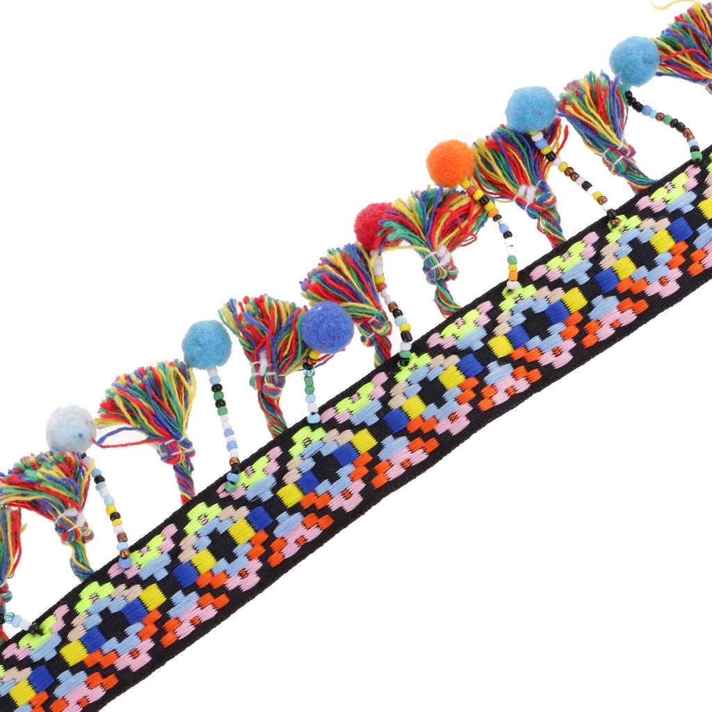 cinta de costura para cortinas cojines Zeagro Borlas de flecos para recortar apliques de cuentas trenzadas de jacquard decoraci/ón de boda mesas 1 m