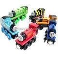 6 unids/lote thomas y sus amigos de trenes de juguete set / madera tomas tren con imán juguetes para niños juguetes para niños, envío gratis