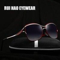 HAO RUI ÓCULOS Marca de Moda Óculos Polarizados Óculos De Sol Das Mulheres Aviador Piloto Óculos de Sol oculos de sol KM8116