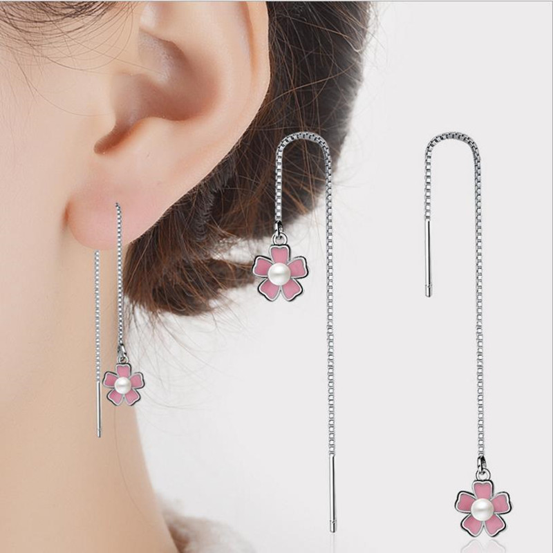 Everoyal Trendy 925 Sterling Silver Earrings For Women Jewelry Charm Tassel Girls Accessories