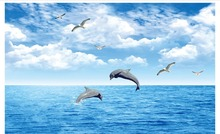 photo wallpaper 3d wall murals wallpaper custom Sea dolphin seagull landscape fresco mural 3D Wallpaper living room Wall decor beibehang wholesale boat jack sparrow mural pirate 3d cartoon mural wallpaper for baby children kids room 3d wall murals fresco