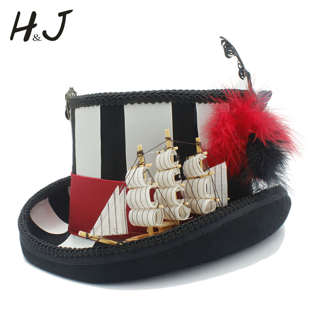 13 5cm 5 3inch Black Womem Men Steampunk Hat DIY Top Hat With Sailboat Traditional Wool