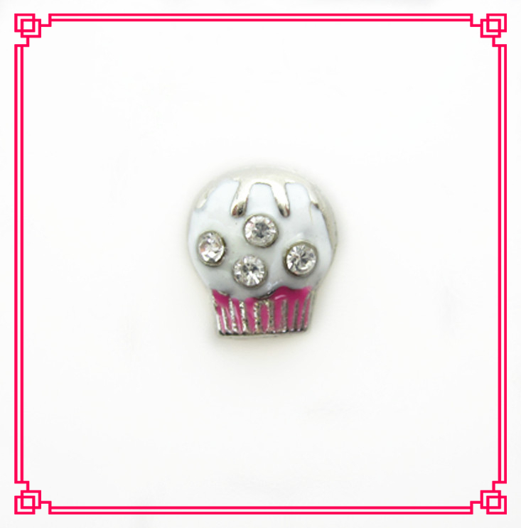 Hot selling crystal cupcake floating charms living glass memory lockets charms