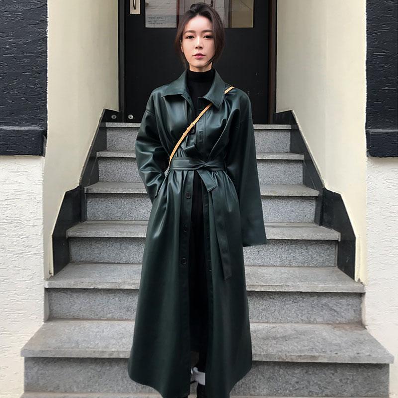 2019 New Spring Women Loose Belt PU Leather Windbreaker Trench Coat Slim Autumn Outwear Cool Leather Long Coat