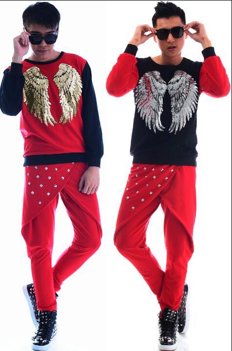 Rot fashion punk dünne sexy pailletten shirt männer hose langarm ursprüngliche teenager shirt herren persönlichkeit bühne sängerin dance - 6