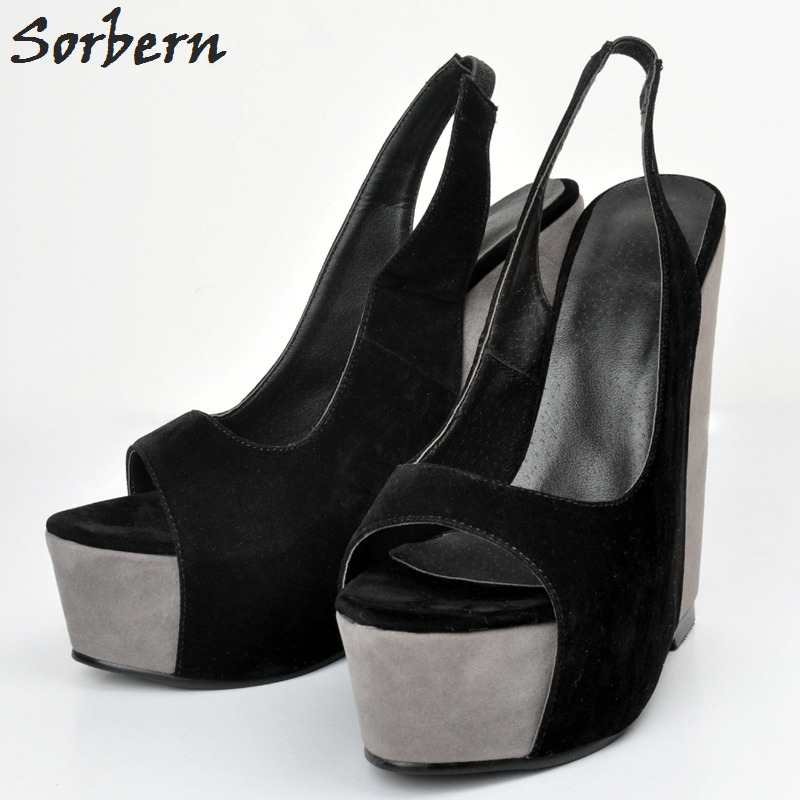 Sorbern 2018 Black Women Wedges Sandals Shoes Real Image Open Toe Plus Size 34-48 Party Shoes Platform Heels Woman Shoes plus size 34 44 summer shoes woman platform sandals women rhinestone casual open toe gladiator wedges women zapatos mujer shoes