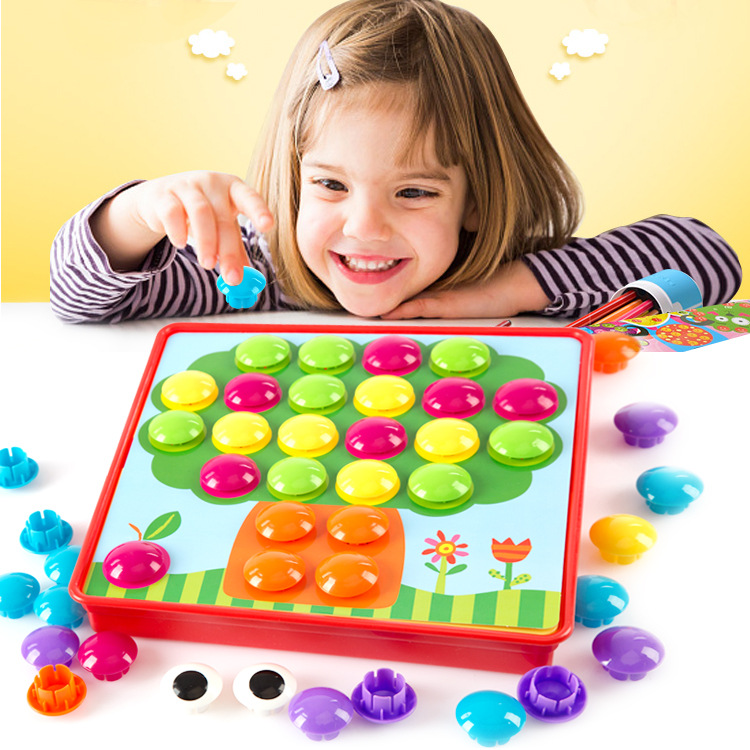 3D Puzzles Toys For Children Composite Picture Puzzle Creative Mosaic Mushroom Nail Kit Educational Toys Button Art Kids Toy 47pcs per set classic iq metal wire puzzle mind educational ring puzzles game for adults children