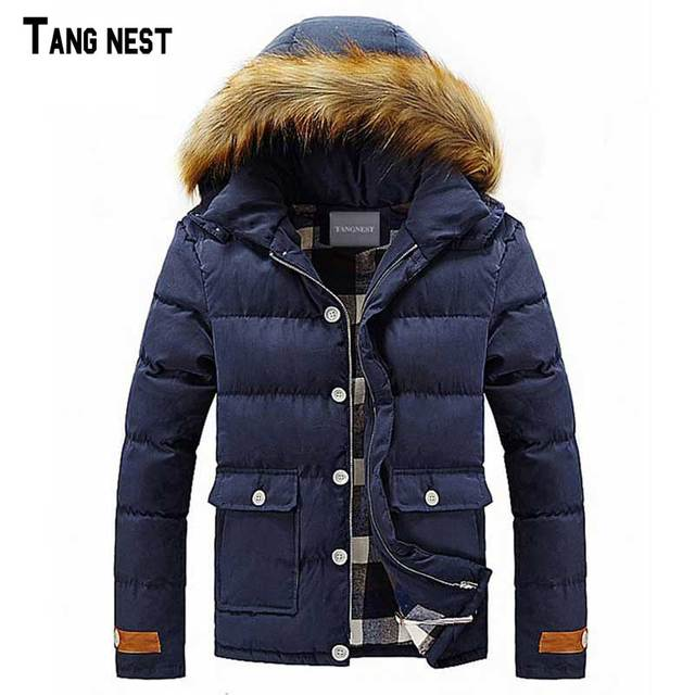 TANGNEST Men's Wadded Jacket 2017 New Arrival Solid Korean Style Men's Wadded Coat Slim Long Stand Collar Fashion Jacket  MWM750