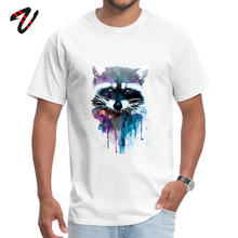 Casual T-shirt For Men Marvel Watercolor Raccoon T Shirt Print Animal Tees Guys Hip Hop Clothes 100% Cotton Custom O Neck Tshirt(China)