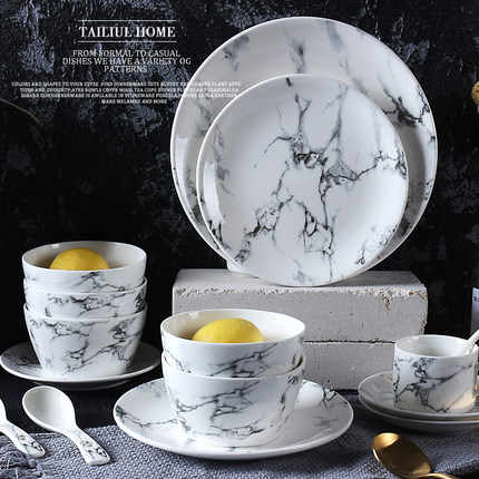 Creative Marble veins tableware set,Plates,Three-layer disc,coffee cup and saucer, dish, western steak Plate, Ceramic rice bowl