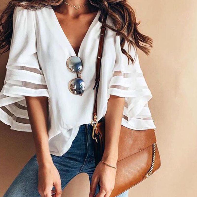 HTB1GfN9KkKWBuNjy1zjq6AOypXaZ - Summer streetwear style women cute chiffon blouses casual flare sleeve shirts white loose tops patchwork mesh shirts