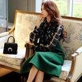 Оригинальный 2016 Бренд Рубашки Женщины Осень Зима Плюс Размер Трепал Тонкий Элегантный Повседневная Темно-Зеленый Плед Блузка Женщины Оптовая
